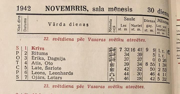 1942. gada vārda dienu kalendārs. Vai Tavs vārds tajā bija atrodams?